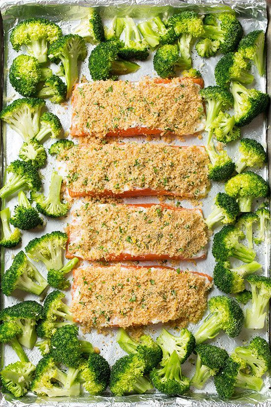 Sheet Pan Parmesan-Crusted Salmon With Roasted Broccoli