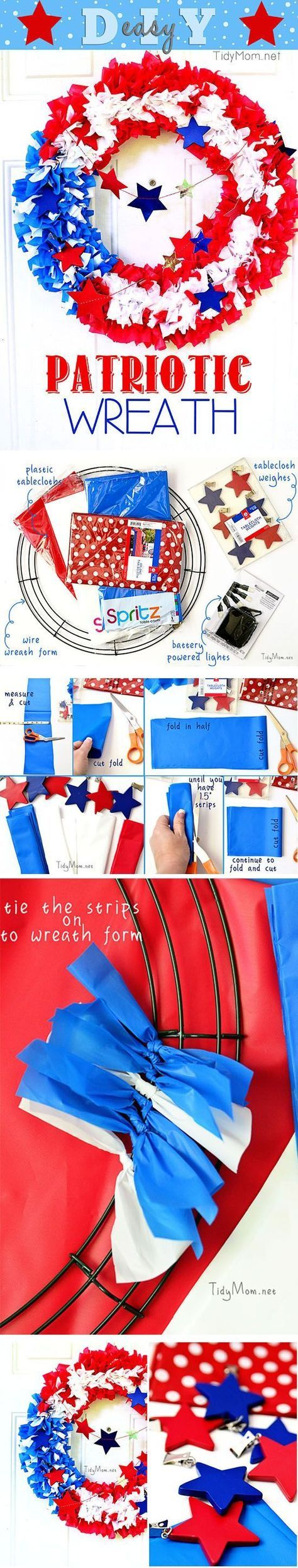 By using plastic tablecloths you can make your own outdoor patriotic flag wreath! get the full tutorial at http://TidyMom.net