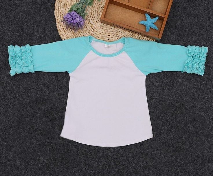 Girls Teal Ruffle Sleeve Raglan T-Shirt
