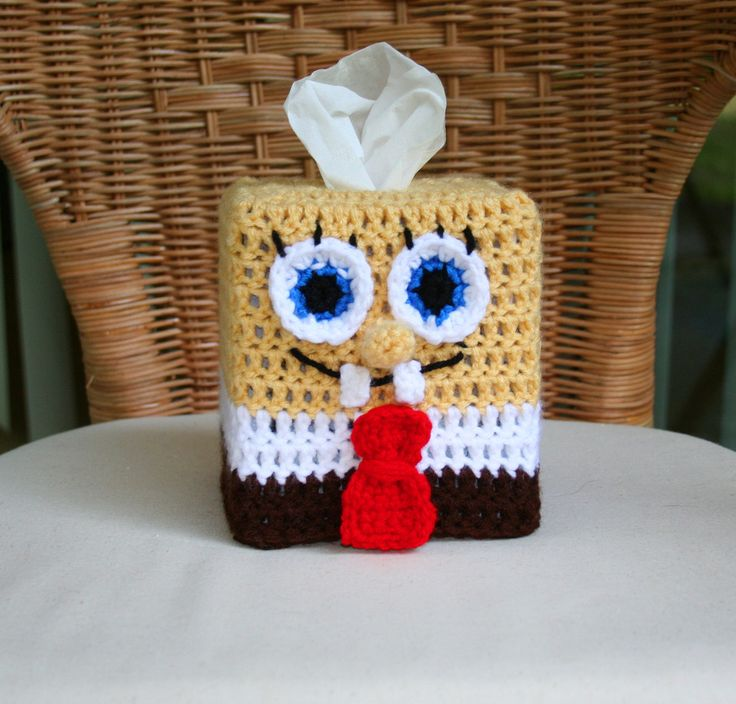 Crochet Pattern Spongebob Tissue Box Cover. $2.99, via Etsy.