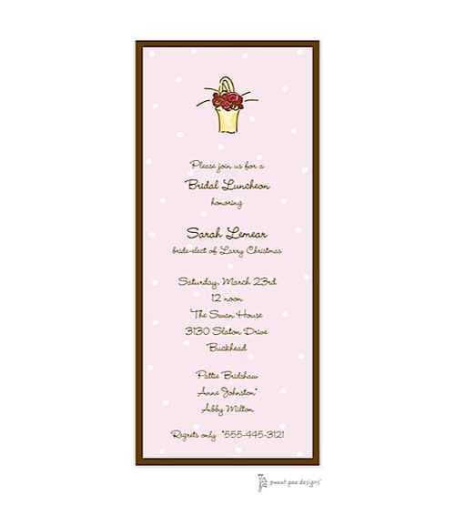 Little Dots Pink & Chocolate Invitation - Bridal Luncheon Invitations -Reliant Graphics Corp.