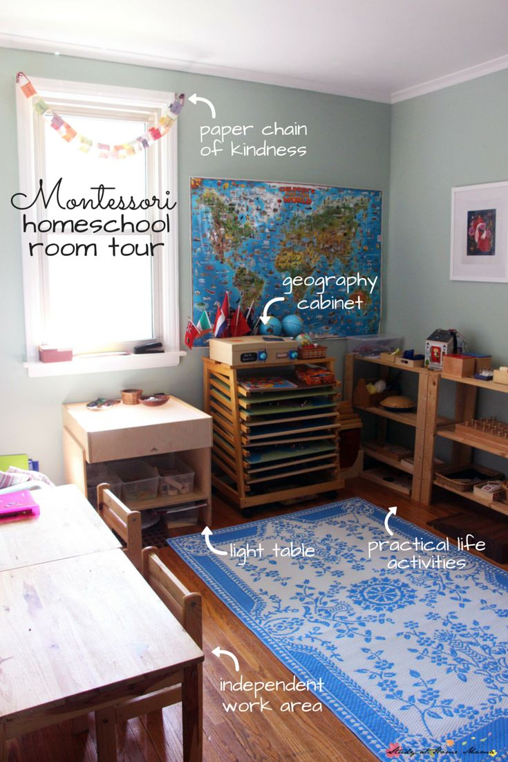 Montessori Homeschool Room Tour: Get an inside peek into what a Montessori homeschool set-up could look like. This family has been Montessori homeschooling for two years and runs a part-time Montessori preschool program out of their home