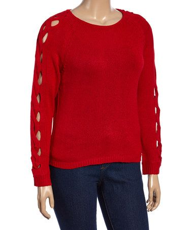 Another great find on #zulily! Red Cutout Sweater - Plus #zulilyfinds