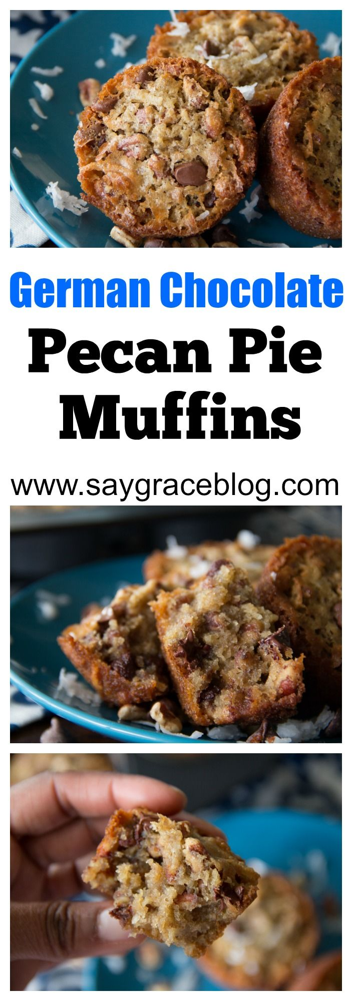 Pecan pie muffins go up a notch when combined with yummy semi-sweet chocolate chips and tasty sweetened coconut!