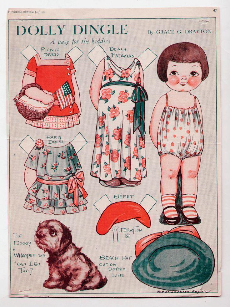 1932 Vintage Dolly Dingle Paper Doll Set