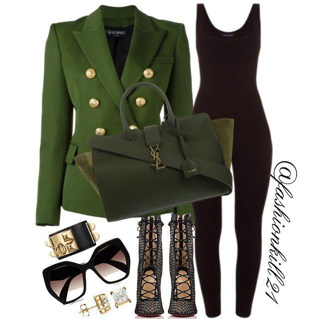 Nasty Gal DETAILS: Blazer #Balmain Bodysuit #Shopdashonline Bag #Ysl Booties #Christianlouboutin Frames #Prada Bracelet #Hermes #styledbyfashionkill21