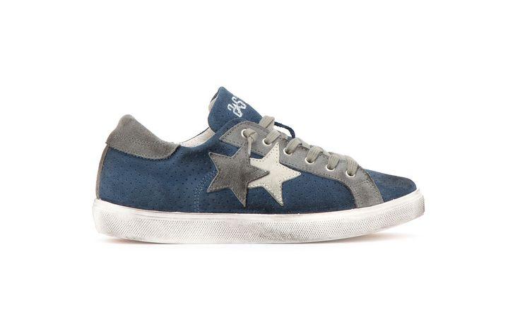 Sneaker 2 Two Star uomo 2su1420 low avion grigio spring summer 2017