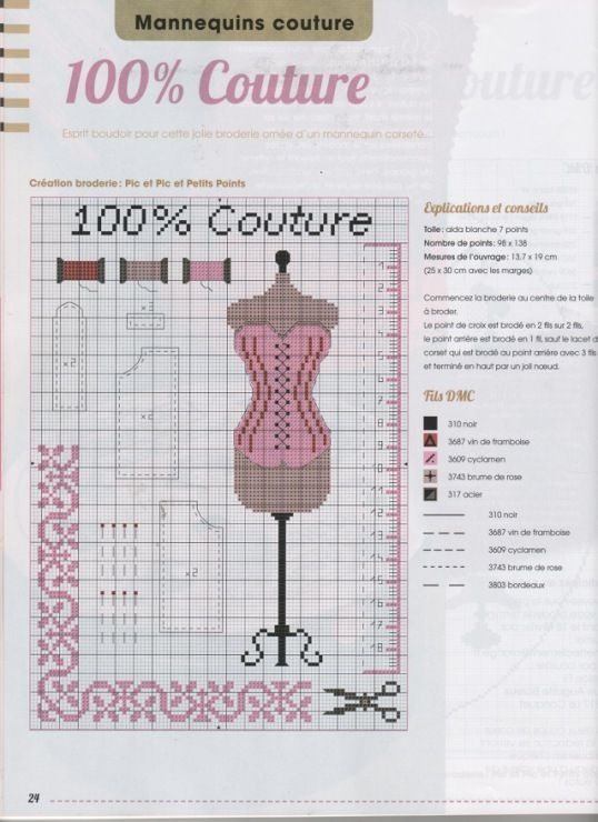 point de croix mannequin de couture cross stitch pink dress form with mannequin couture maison. Black Bedroom Furniture Sets. Home Design Ideas
