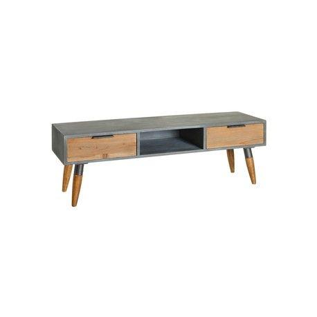 Mesa estilo vintage para televisión con dos cajones y hueco para DVD, mueble auxiliar con estructura de madera color gris y dos cajones y patas color madera en Tu Tienda del Hogar