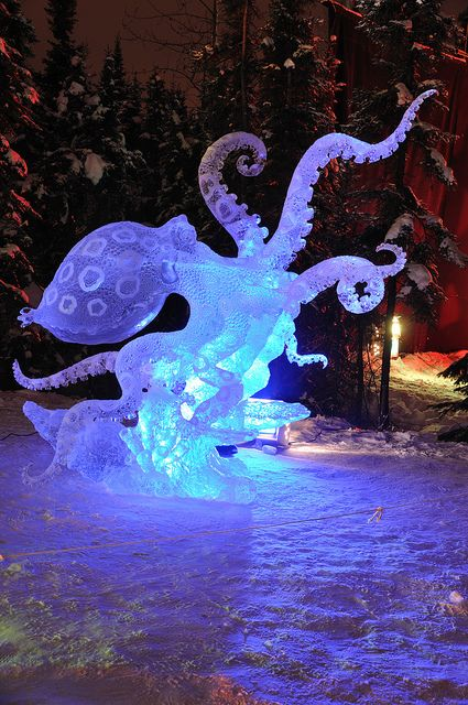 "© 2010 Gary Whitton. All Rights Reserved  ""Blue Ring Octopus"" Ice Sculpture, 2010 World Ice Art Championships February 27, 2010 in Fairbanks, Alaska"