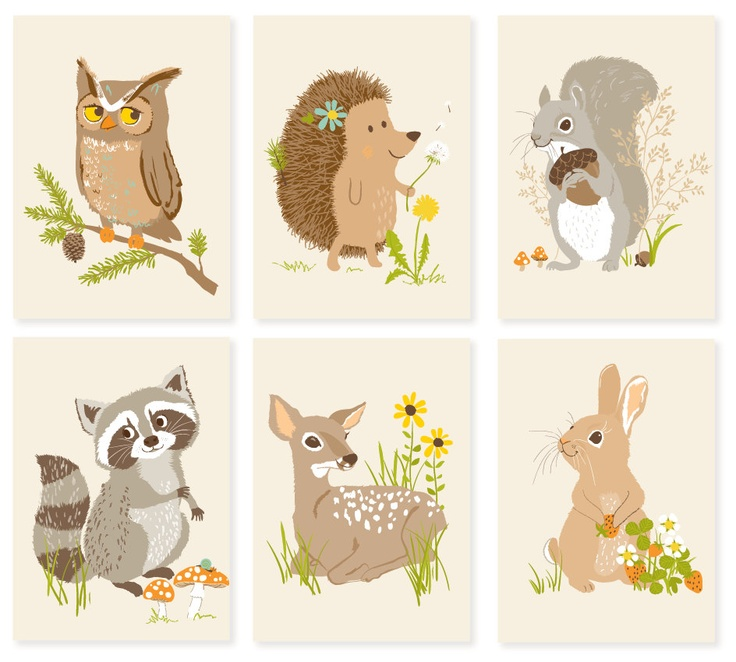 Woodland Forest Critter Print Set.