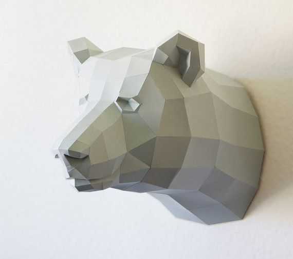 Papercraft template bear, brown bear trophy, faux trophee, fake trophy on Etsy, £41.22