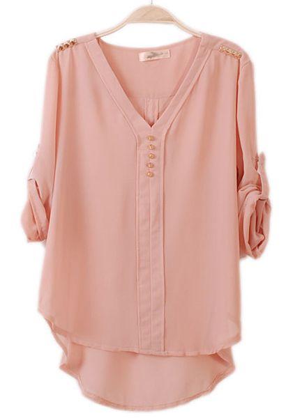 Pink Irregular Rivet Epaulet Seven's Sleeve Chiffon Blouse