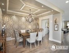 Dining room with hand-painted wall mural and decorative ceiling. 2014 Cash & Cars for Cancer Lottery Home | The Legacy model by Kimberley Homes  #interiordesign #newhomedesign #homedesign #newhome #customhome #yegre #buildwithkimberley #kimberleyhomes #diningroom