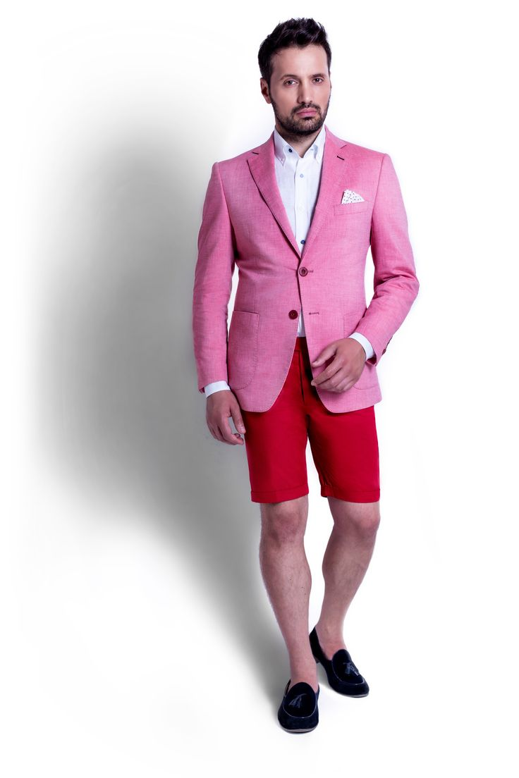 "Zenonni is proposing an active combo from ""Salmon"" Cotton Jacket together with Red Cotton Shorts and a plain White Linen Shirt. Check the fabric and the design closely"
