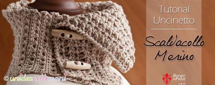 Tutorial con foto schema e spiegazioni per fare un originale scaldacollo all'uncinetto in lana con bottoni. Modello adatto per donna e per uomo.