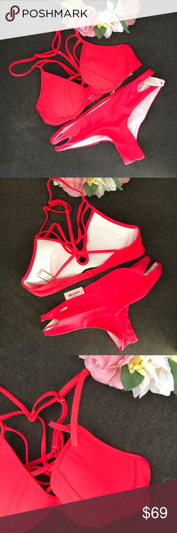 Victoria secret red madness swim set XS Brand new. Only selling as a set. Do not ask for separates. Both are size XS. Top front criss crossing and bottoms side cut out details. Super cute and sexy. Look for my other swim sets. Soak up the sun. ☀️ Victoria's Secret Swim Bikinis