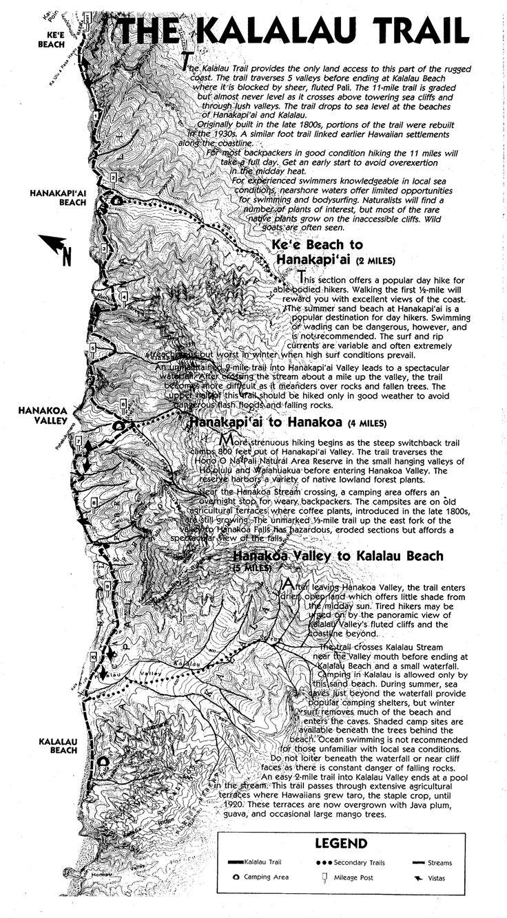 Kalalau Trail Na Pali Coast Trail Map - Na Pali Coast Kauai Hawaii • mappery