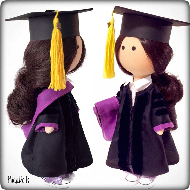Textile doll in cap and gown for graduation party by PticaDolls ❤️ https://www.etsy.com/listing/549797660/free-shipping-graduation-doll-in-cap-and
