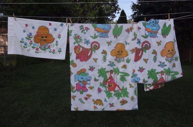 Vintage Cannon Monticello Jungle Elephant Child Children Twin Size Bed Sheet Set