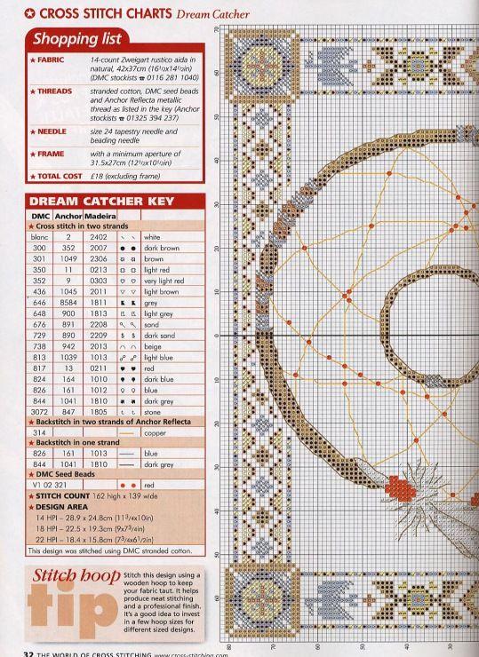 Borduurpatroon Kruissteek Dromenvanger *Embroidery Cross Stitch Pattern Dreamcatcher ~Legende 2/3~
