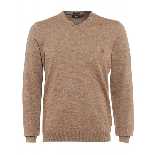 Hugo Boss Black Batisse-E Sweater, Beige V-Neck Taupe Jumper ($110) ❤ liked on Polyvore featuring men's fashion, men's clothing, men's sweaters and taupe
