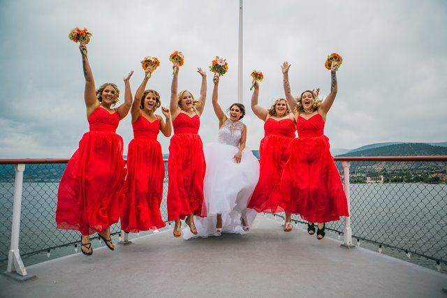 Jump! Bride and Bridemaids on -  Photo by Justine Russo  the bow