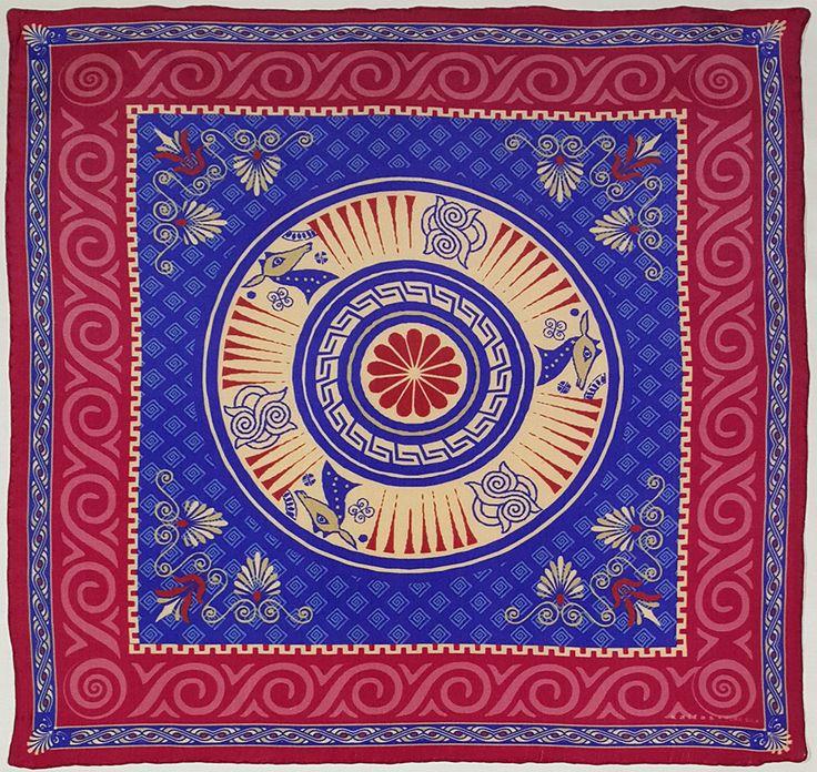 Fabric : 100% Pure Silk Type   : Foulard 7m/m Print   : digital Hand-rolled edges Dimensions  : 50x50cm / 19''x19'' Theme : Ancient Greek Motifs 17-50-114 Red Dark-Blue