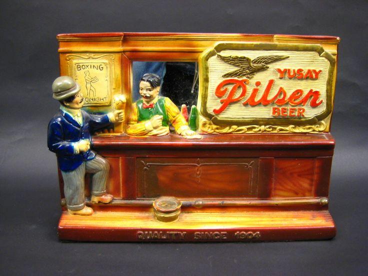 Vintage Yusay Pilsen Beer Boxing Tonight Chalkware Bar Sign