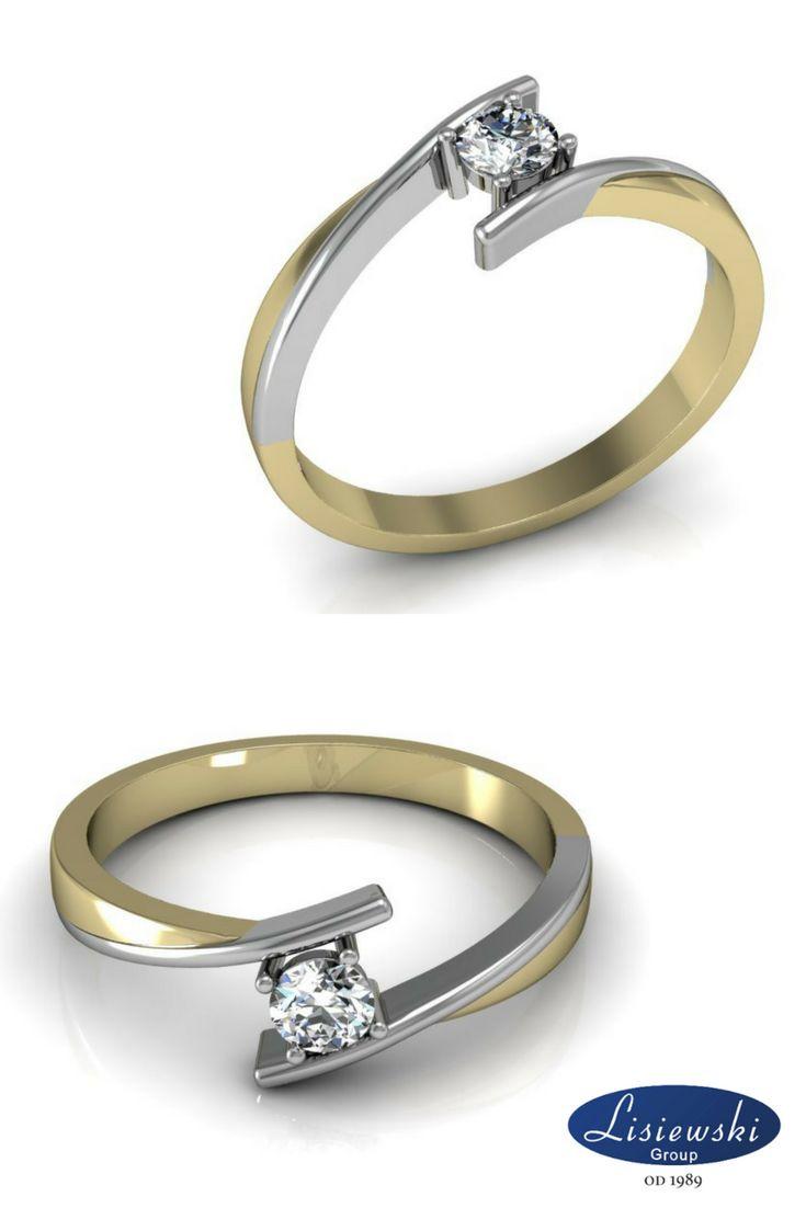 Pierścionek zaręczynowy z diamentem, biało-żółty || Two colours golden ring with diamond #jewellery