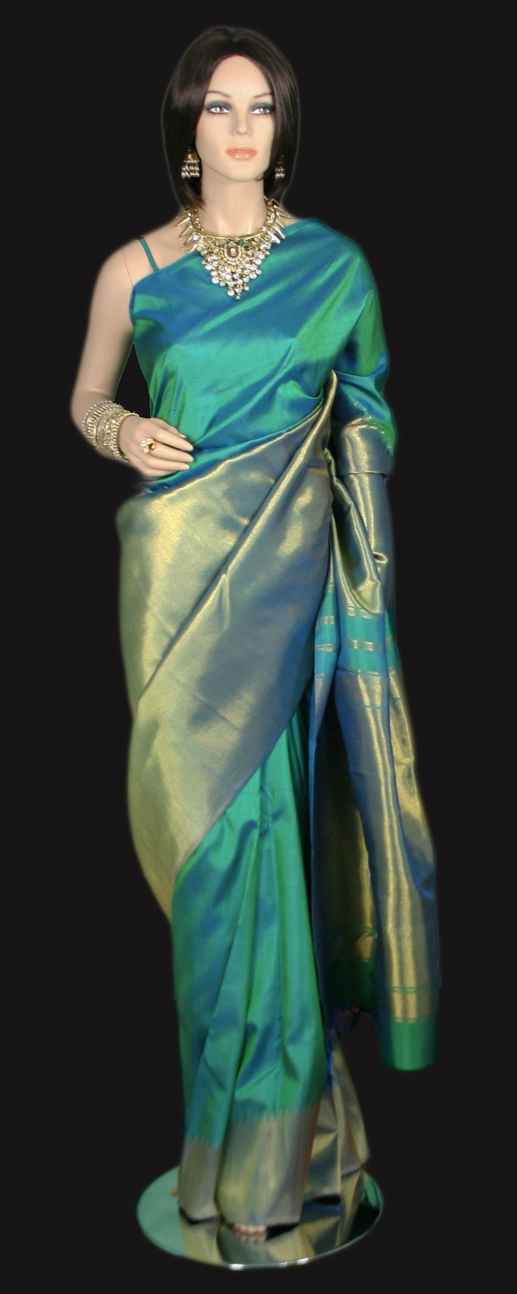 Rising Border Zari Gold Aqua Kanjeevaram Saree