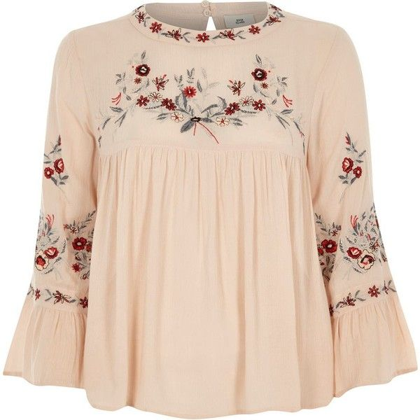 River Island Petite cream embroidered smock top ($76) ❤ liked on Polyvore featuring tops, blouses, cream, women, smock blouse, bell sleeve blouse, smock top, long blouse and pink bell sleeve top
