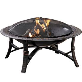 Garden Treasures 35-in Round Black Steel Wood-Burning Fire Pit with Cover