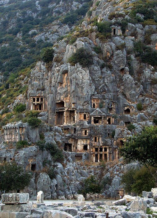 Rock-cut tombs in Myra, an ancient town in Lycia, Turkey.