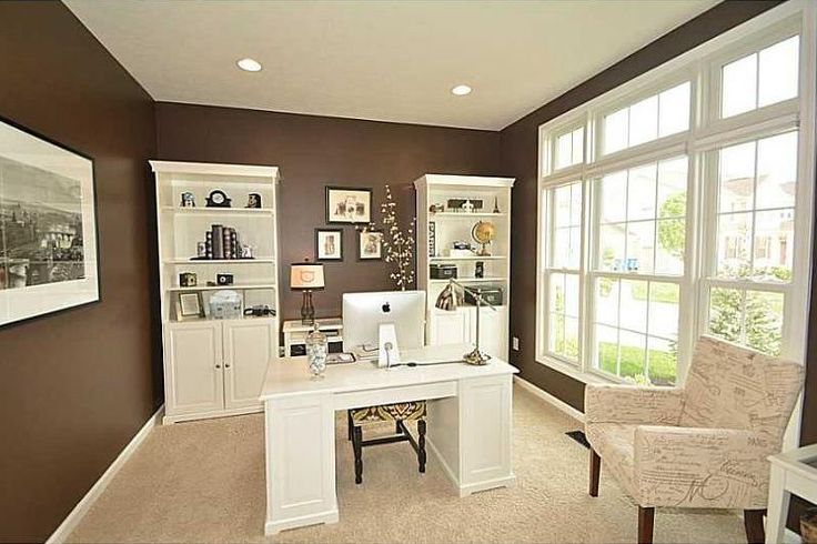 Traditional Home Office with Carpet, Naples White Finish Pedestal Desk, Sauder Cottage Road Library