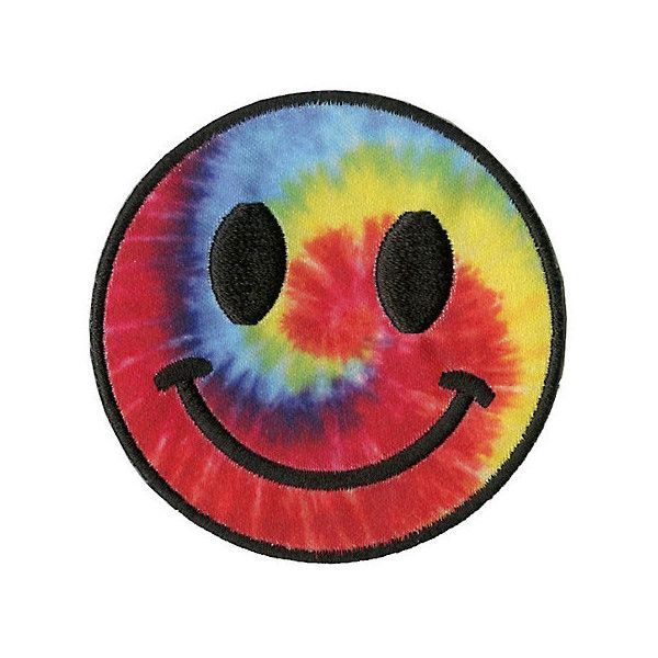 Tie Dye Smiley Face Patch Hot Topic ($3.37) ❤ liked on Polyvore featuring accessories and hot topic