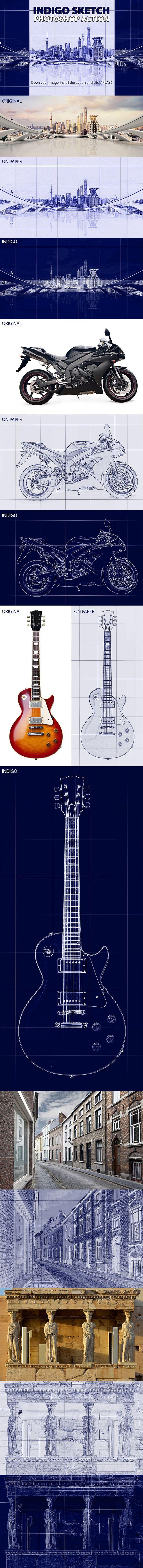 Indigo Sketch Photoshop Action #photoeffect Download: http://graphicriver.net/item/indigo-sketch-photoshop-action/11425404?ref=ksioks