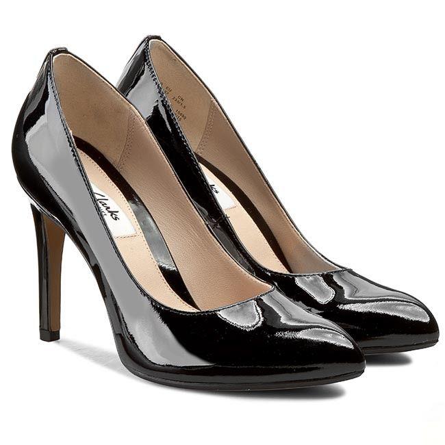 Pantofi cu toc subțire CLARKS - Always Chic 261042354 Black Pat