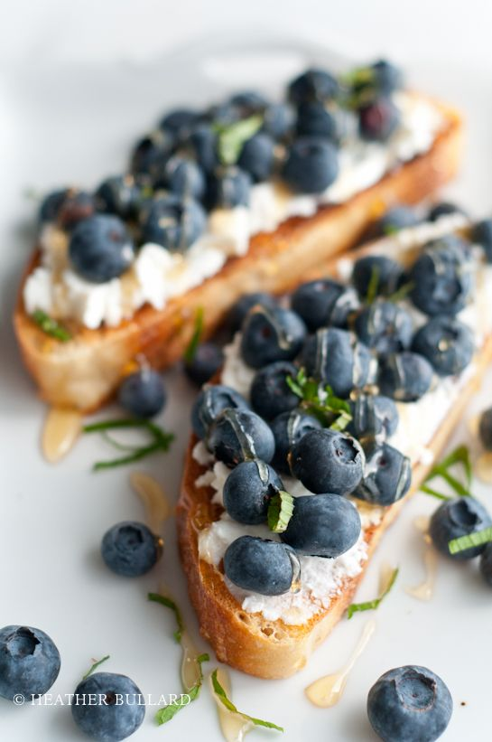 Grilled ciabatta, ricotta cheese, fresh blueberries, organic honey, and mint
