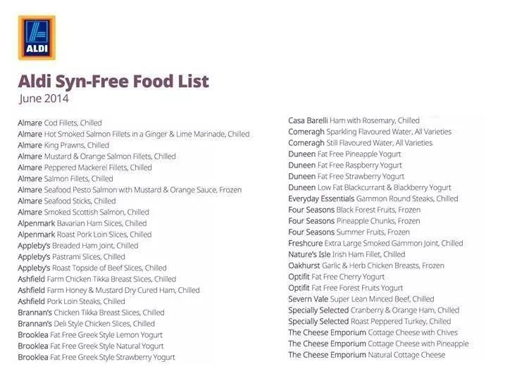 Aldi Syn Free Food List Slimming World Pinterest