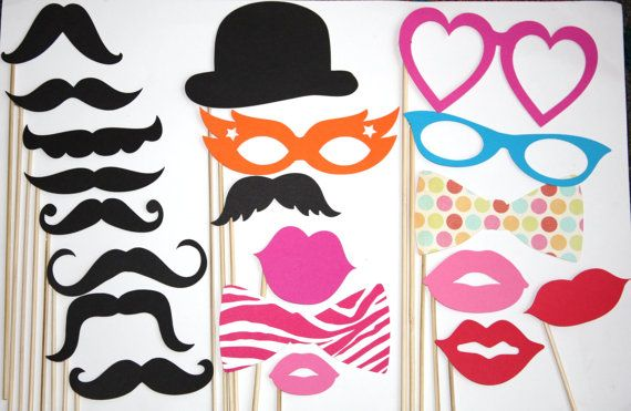 20 PhotoBooth Props Mustaches Lips Wedding by PhotoBoothgirls