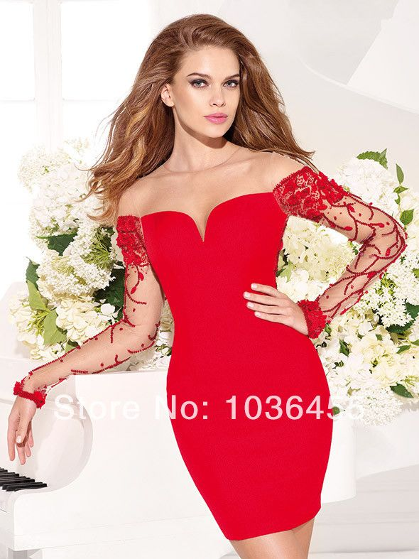Turmec » long sleeve red dresses for sale