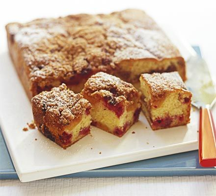 Apricots and raspberries are really good partners, and are especially good baked into this soft vanilla cake with  cinnamon crumble