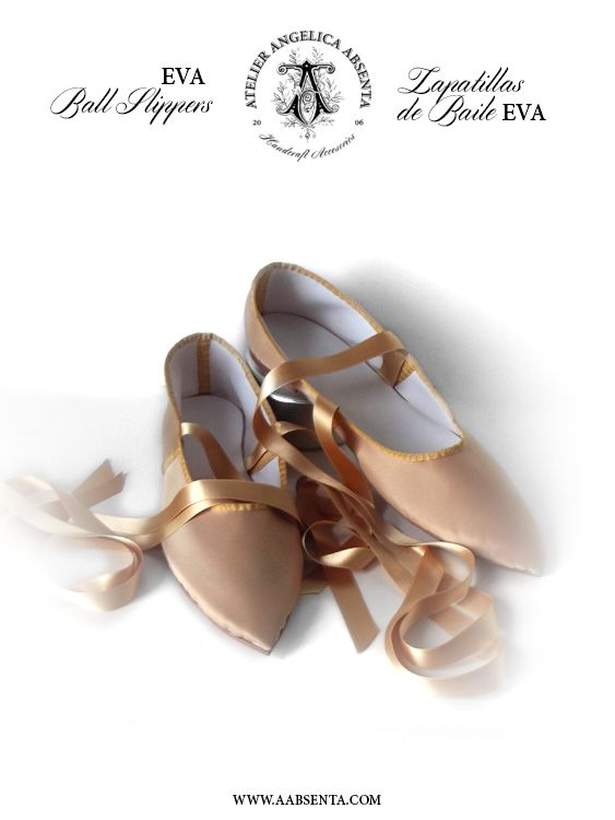 EVA ball slippers. (Regency)  Completely handmade in faux leather covered with silk. Kid leather insoles. Handsewn leather outsoles with minimal heel. Seams covered in grosgrain bias. Satin ribbons to tie at the ankle.  Start price is 150 euros plus shipping. 100% customizable with your choice of fabric and trimmings, please contact me for a personalised quote.