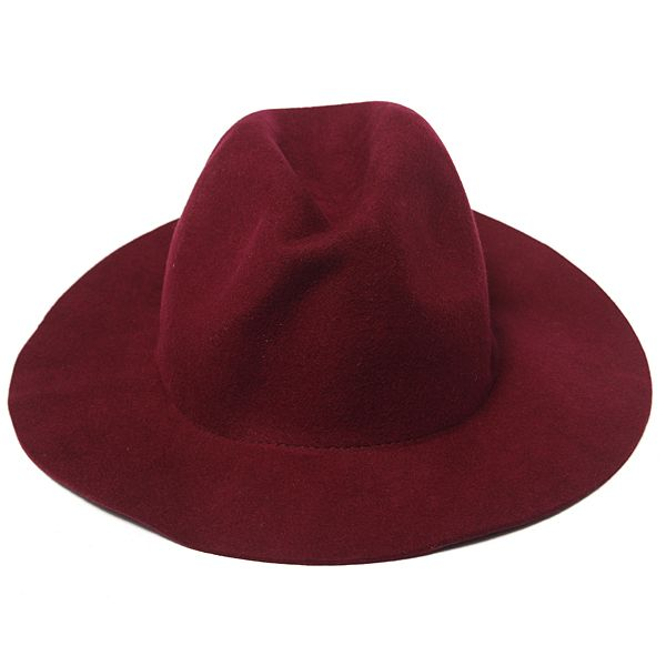 Señoras de mujeres gorra del sombrero de fieltro del sombrero flexible del bombín de lana de la vendimia del jazz amplio sombrero del vaquero del borde en Bangg