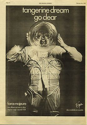 Tangerine Dream Force Majeure Poster Size vintage music press advert