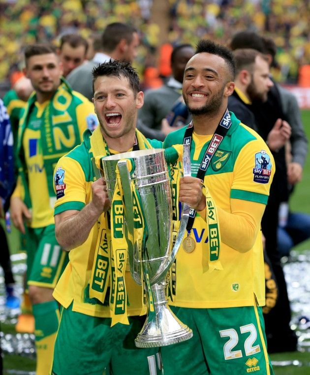 Wes Hoolahan and Nathan Redmond celebrate victory. Photo: Nick Potts/PA Wire