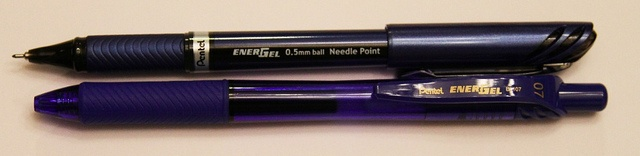 Pentel EnerGel Euro 0.5 mm Liquid Ink vs. Gel Ink 0.7 mm RT by GourmetPens, via Flickr