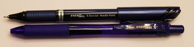 Pentel EnerGel Euro 0.5 mm Liquid Ink vs. Gel Ink 0.7 mm RT by GourmetPens, via Flickr