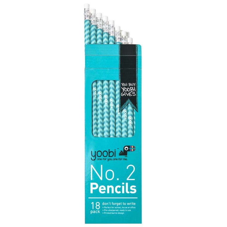 2 Pencils Round, 18 Pack   Aqua Chevron